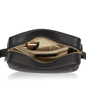 Dylan Crossbody Bag with Built-in Phone Charger - Black Leather (Gold Hardware)