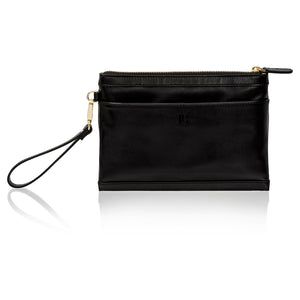 Back view of black leather wristlet clutch bag with phone charger.