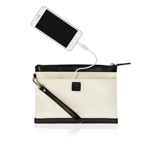 Back view of canvas and leather wristlet bag showing phone plugged into bag's charging cable.