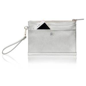 Back view of silver leather wristlet bag with inbuilt charger showing phone pocket.