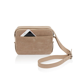 Dylan Crossbody bag with Built-in Phone Charger - Taupe | Low Stock