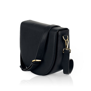Ava charging bag inbuilt phone charger by Lorna & Bel black leather bag