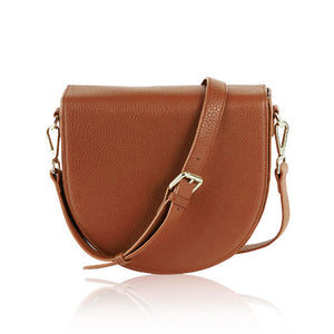 Ava Crossbody Bag with Built-in Phone Charger - Tan Leather