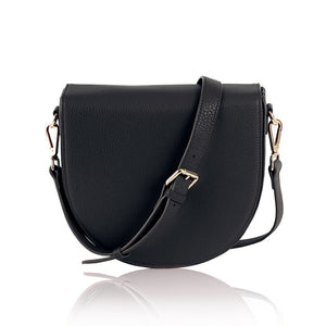 Ava charging bag inbuilt phone charger by Lorna & Bel black leather