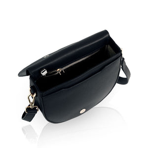 Ava charging bag with inbuilt phone charger by Lorna & Bel black leather bag
