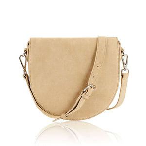 Ava Crossbody Bag with Built-in Phone Charger - Sand Suede