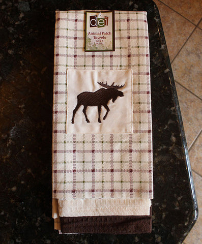 Hand Towel Set - Embroidered Moose Silhouette