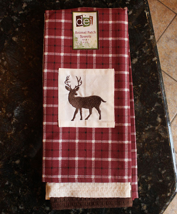 Hand Towel Set - Maroon with Embroidered Deer Silhouette