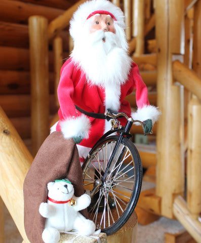 Byers' Choice Red Velvet Santa With Bike