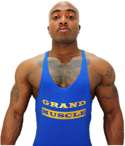 Stringer Tank - Blue & Metallic Gold