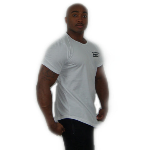 Curved Bottom Hem T-Shirt - White and Black 2019