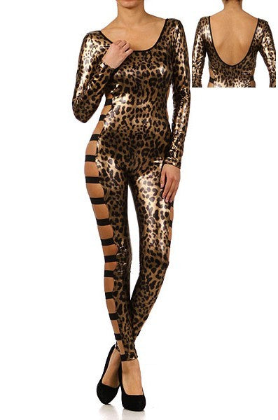 Leather Round Neck Backless Cupless Slinky Bandage Hollow Leopard LINGERIE Costume - Sins & Temptations