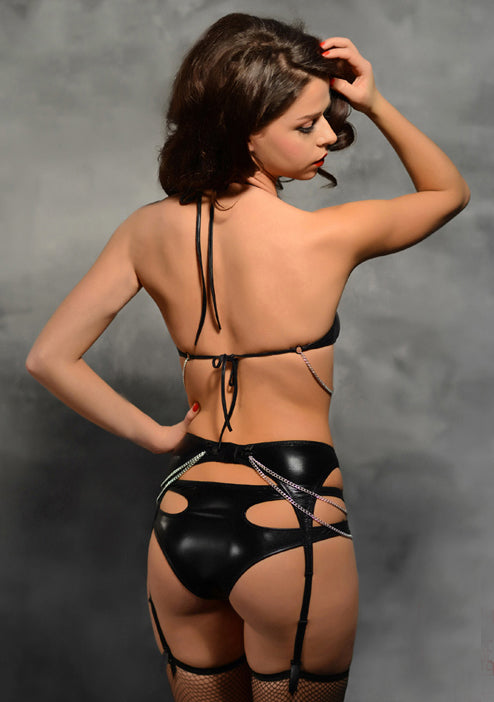 Ultra Sexy Leather Shoulder Low Cut Hollow Vinyl & Leather Lingerie - Sins & Temptations