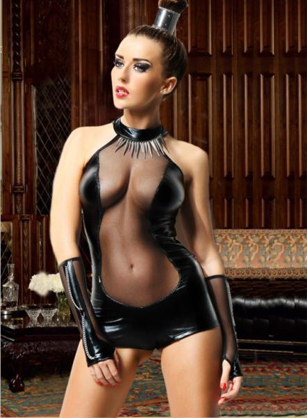 Black Strapless See Through Vinyl & Leather Lingerie Costume