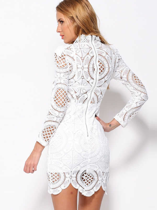 Fashion White Long Sleeve Lace party wear Dress - Sins & Temptations