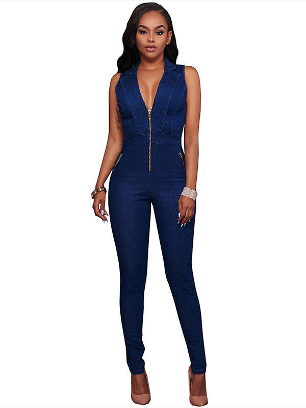 Dark Blue Women Sleeveless Denim Jeans Jumpsuit Romper - Sins & Temptations