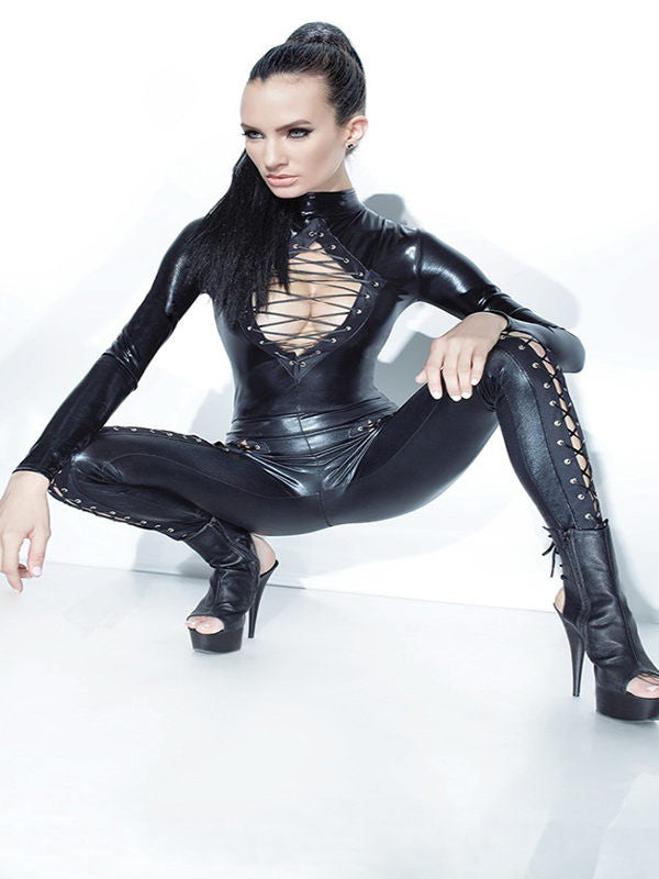 Black Vinyl Leather Jumpsuit With Bandage - Sins & Temptations