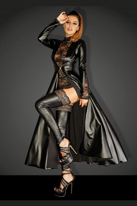 Leather Women Sexy Black Long RolePlay Dress - Sins & Temptations