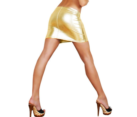 Faux Leather Metallic Shiny Skirt - Sins & Temptations