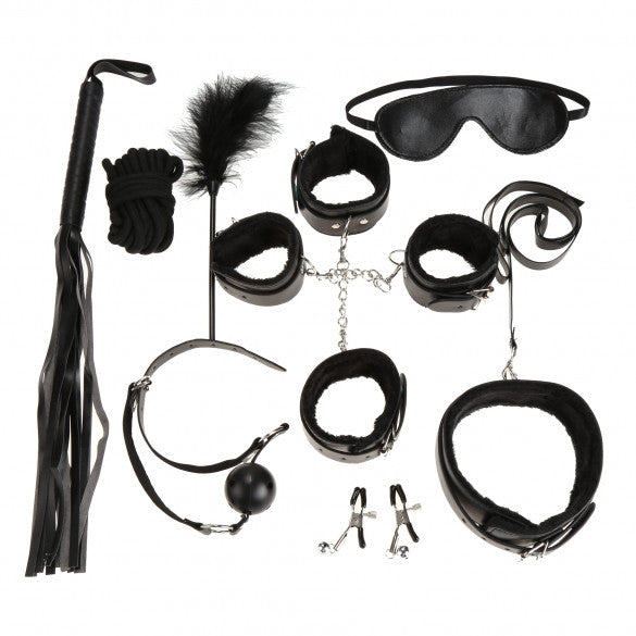 Black 7pcs Fetish Sexy Bondage Love Cuffs System Set - Sins & Temptations