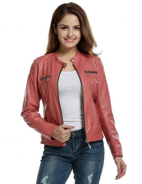 Women Pink Faux Leather Zip-Up Solid Slim Fit Motorcycle Jacket - Sins & Temptations