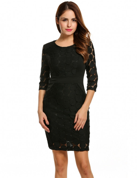 Casual 3/4 Sleeve Solid O Neck Skinny Elegant Lace Summer Evening Party Work wear Dress - Sins & Temptations