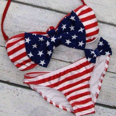 Padded Underwire American Flag Halter Two Piece Swimwear - Sins & Temptations