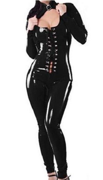 Black Gothic Faux Leather Catsuit - Sins & Temptations
