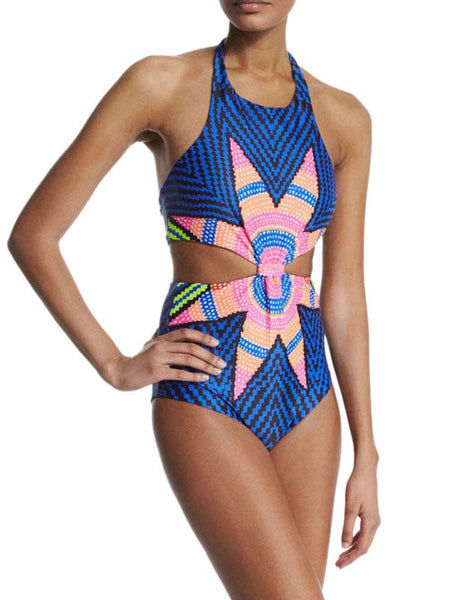 Blue Halter Cut Out Swimwear Lingerie - Sins & Temptations