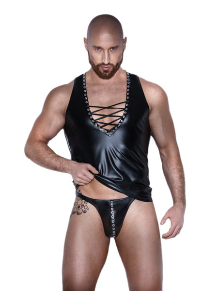 Fashion Black Faux Leather Sleeveless Mens RolePlay Set - Sins & Temptations