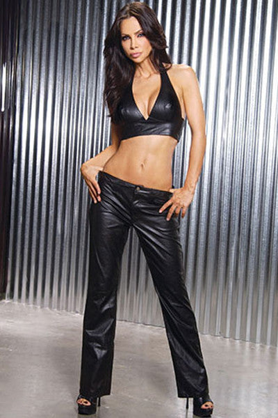 2PC Pant & Top Sexy Ladies Black Leather Catsuit Clubwear - Sins & Temptations