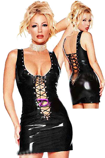 Lace Up Front and Back Women Black Leather Dress - Sins & Temptations