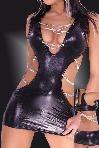 Black Bare Back Women Leather Dress - Sins & Temptations