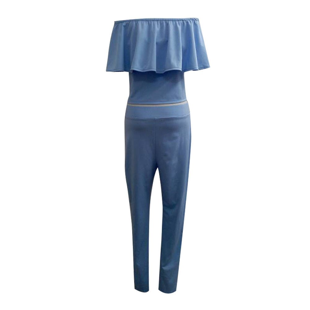 Stretch Blue 2PCS Sets Pants Ruffled Sleeves Crop Tops Evening Party jumpsuit Dress - Sins & Temptations