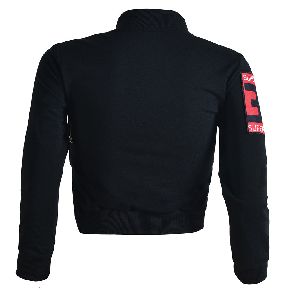 Cool Splicing Zipper Closure Short Black Bomber Jacket - Sins & Temptations