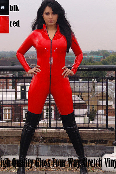 High Quality Red Sexy Vinyl Zipper Faux Leather Catsuit - Sins & Temptations
