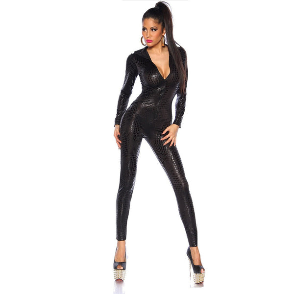 Black Snakeskin Deep V-neck Zipper Evening Jumpsuit Catsuit - Sins & Temptations