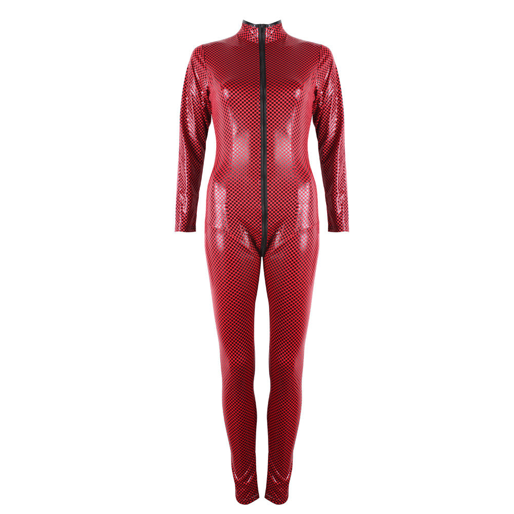 Hot Red PU Leather High Neck Snakeskin Sheathy Sexy Jumpsuits Catsuit - Sins & Temptations