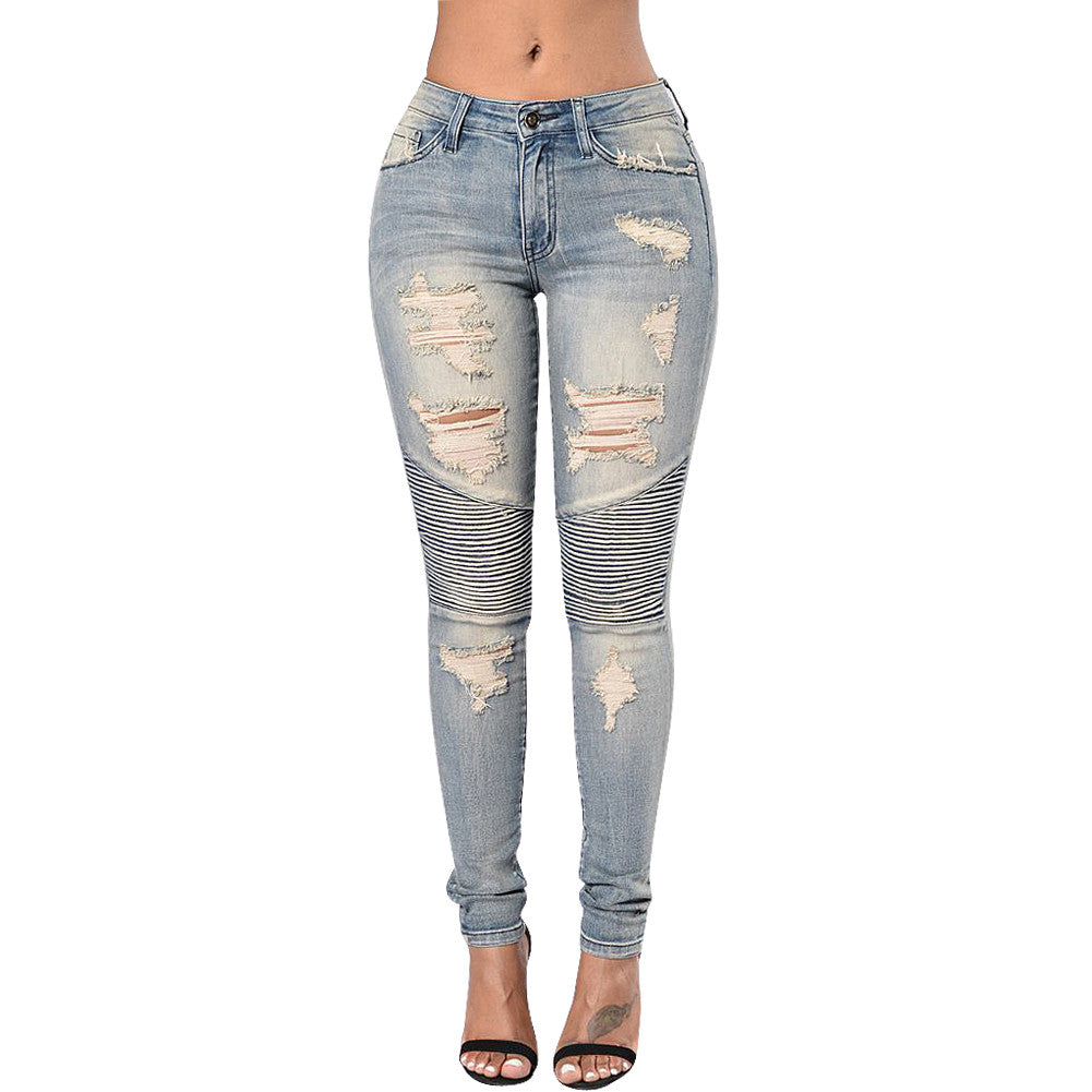 Boy Friend Style Patchwork Holes Distressed Ripped Jeans - Sins & Temptations