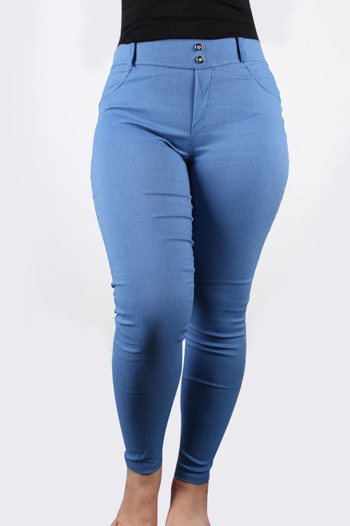 Elastic Shaping Effect Fitness Denim Blue Bum Shaper Pants Bum Lifter Pants - Sins & Temptations