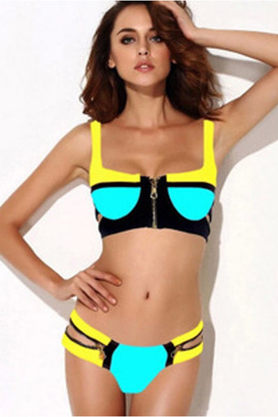 Brightly Colour Block Padded Zipper Bikini Top Adjustable Straps Swimwear - Sins & Temptations