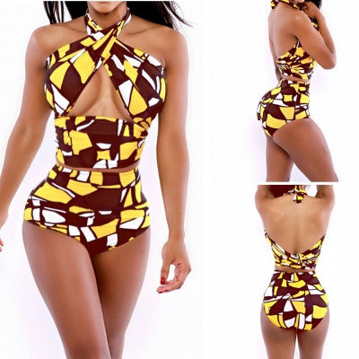 Abstract Color Block Criss Cross Halter Bikini Front Keyhole Swimwear - Sins & Temptations