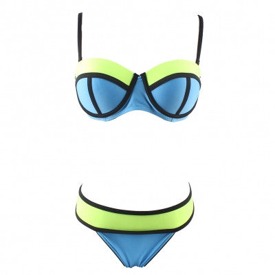 Charming Color Block Scalloped Bustier Bikini Adjustable straps Swimwear - Sins & Temptations