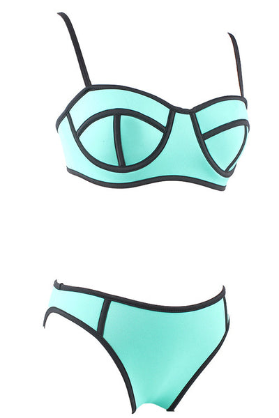 Boldly Bright Blue Supportive Bathing Suits Adjustable Straps Swimwear - Sins & Temptations