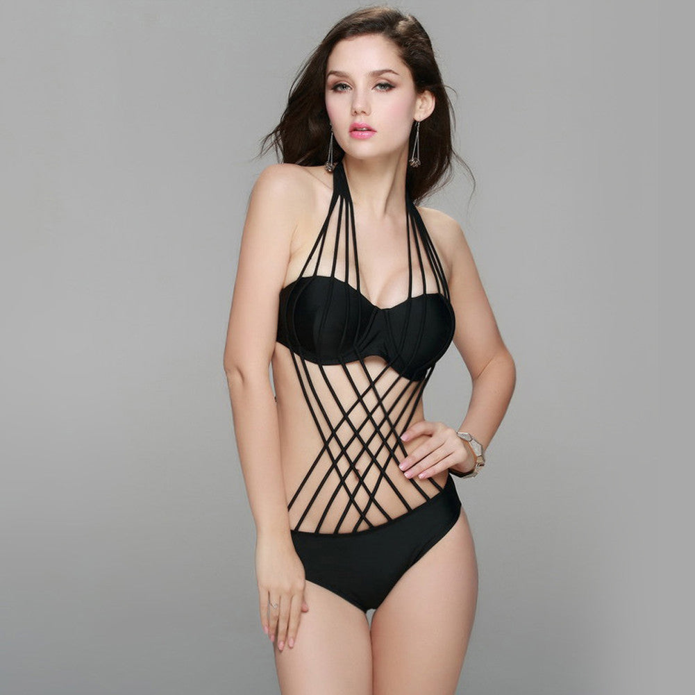 Astonished Crossed Halter Black Strappy One Piece Bathing Suit Swimwear - Sins & Temptations
