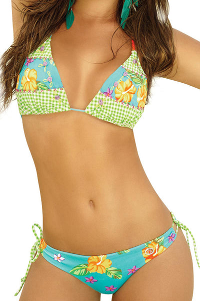 Refreshing Halter Triangle Floral Print Bikini Set Low Rise Swimwear - Sins & Temptations