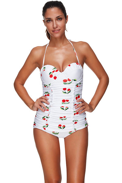 Cherry Pattern Ruched Big Size Halter One Piece Swimsuit Beachwear Swimwear - Sins & Temptations