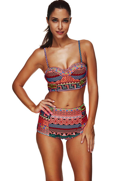 Geometric Print Plus Size Two Piece Underwire Bathing Suits Swimsuit Beachwear Swimwear - Sins & Temptations