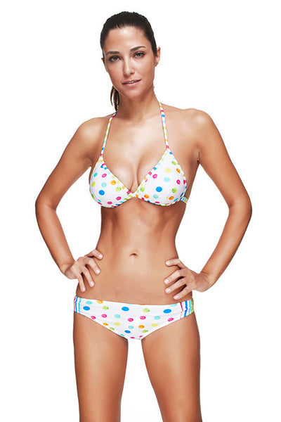 Colorful Spots Halter Neck Plus Bathing Suits Beachwear Swimwear - Sins & Temptations