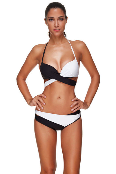 Color Block Underwired Halter Large Breast Bathing Suits Beachwear Swimwear - Sins & Temptations